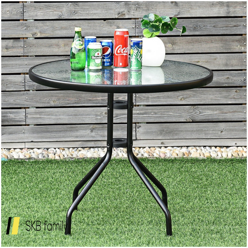 "32"" Outdoor Patio Round Tempered Glass Top Table With Umbrella Hole 200815-24615"