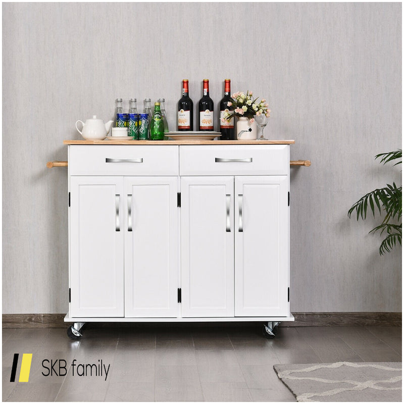 Wood Top Rolling Kitchen Trolley Island Cart Storage Cabinet 200815-24626