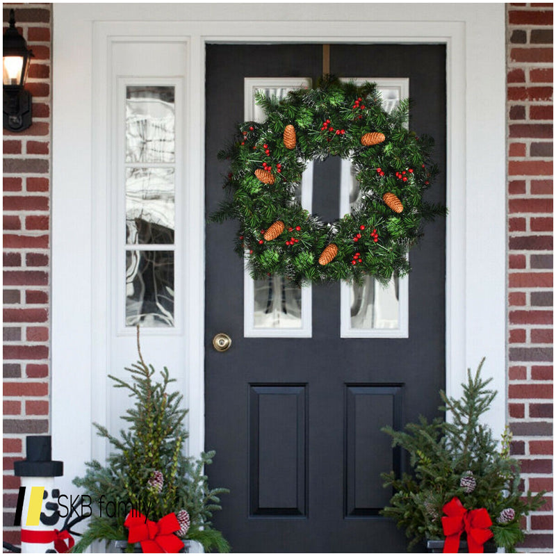 "24"" Pre-Lit Artificial Spruce Christmas Wreath 200815-24629"