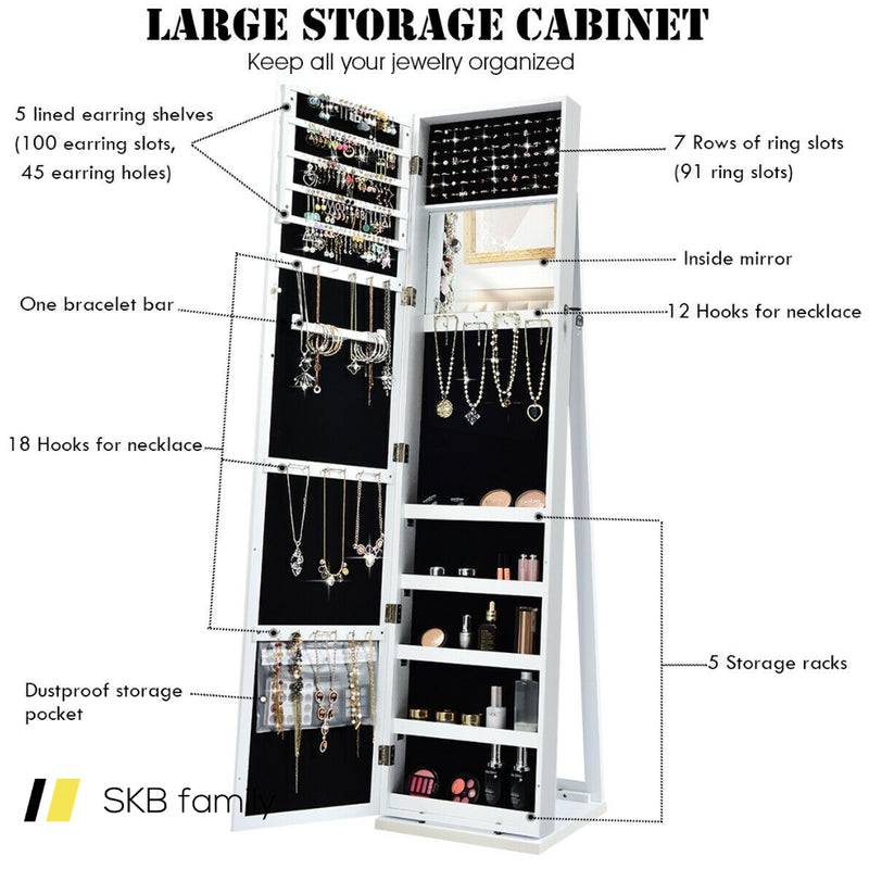 Mirrored Lockable Standing Jewelry Storage Organizer 200815-24633