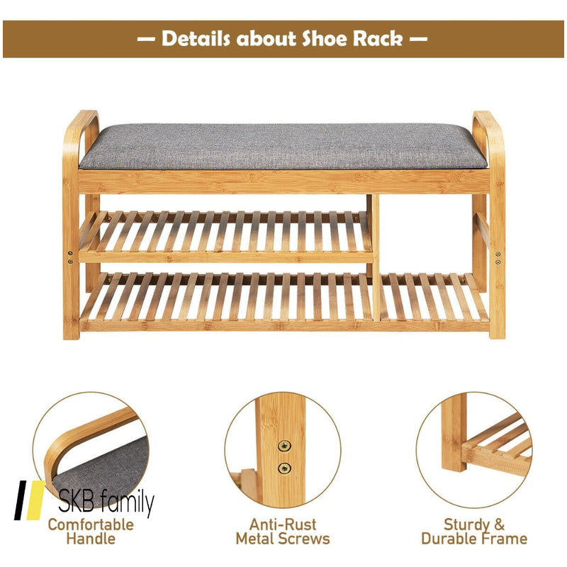 3-Tier Bamboo Shoe Rack Bench With Cushion 200815-24637