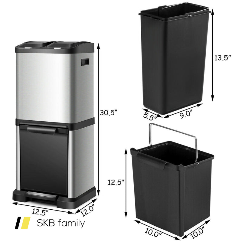 8.5 Gallon Garbage Bin With Pedal And 3 Buckets 200815-24645