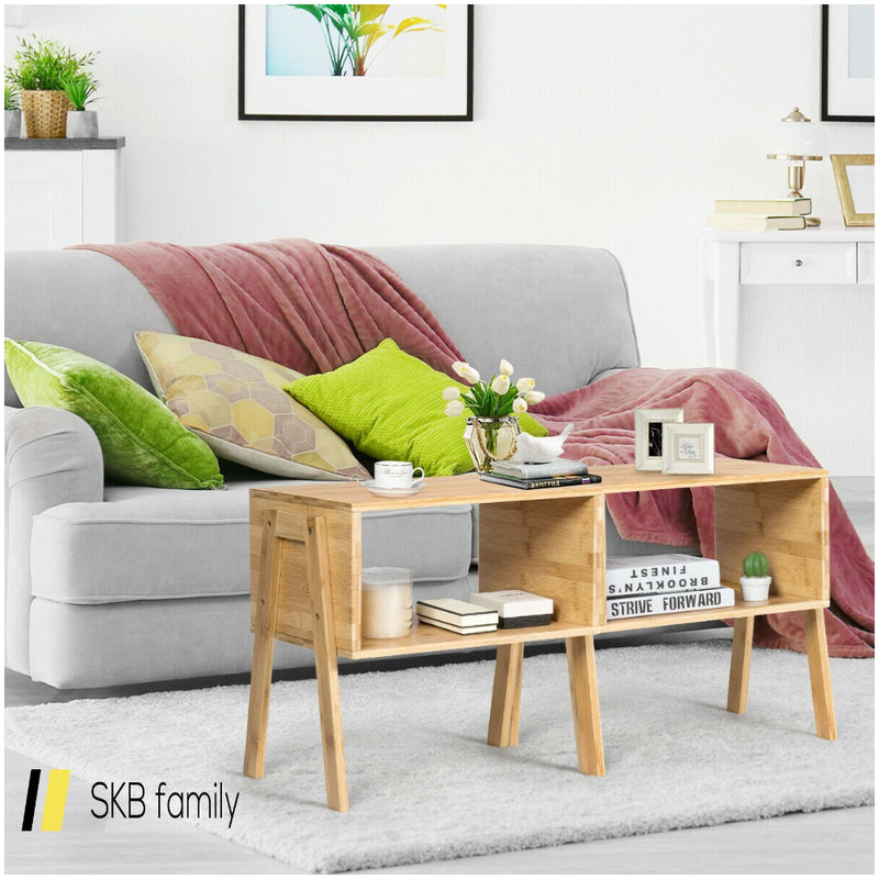 2 Pcs Bamboo Storage Shelf Nightstand Sofa Table 200815-24648