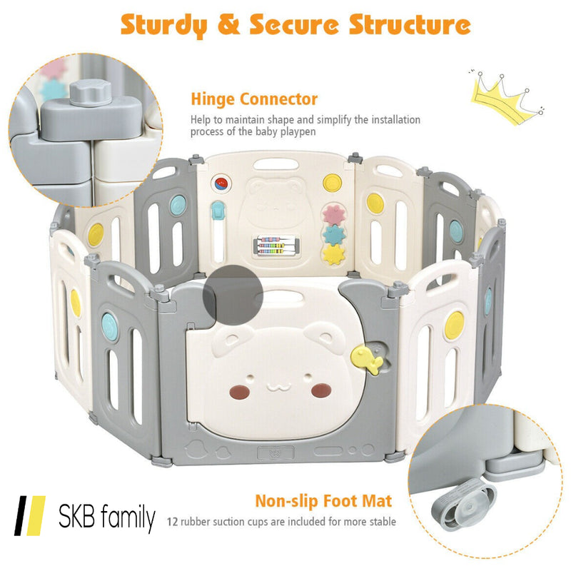 12 Panel Baby Playpen Kids Activity Play Yard 200815-24653