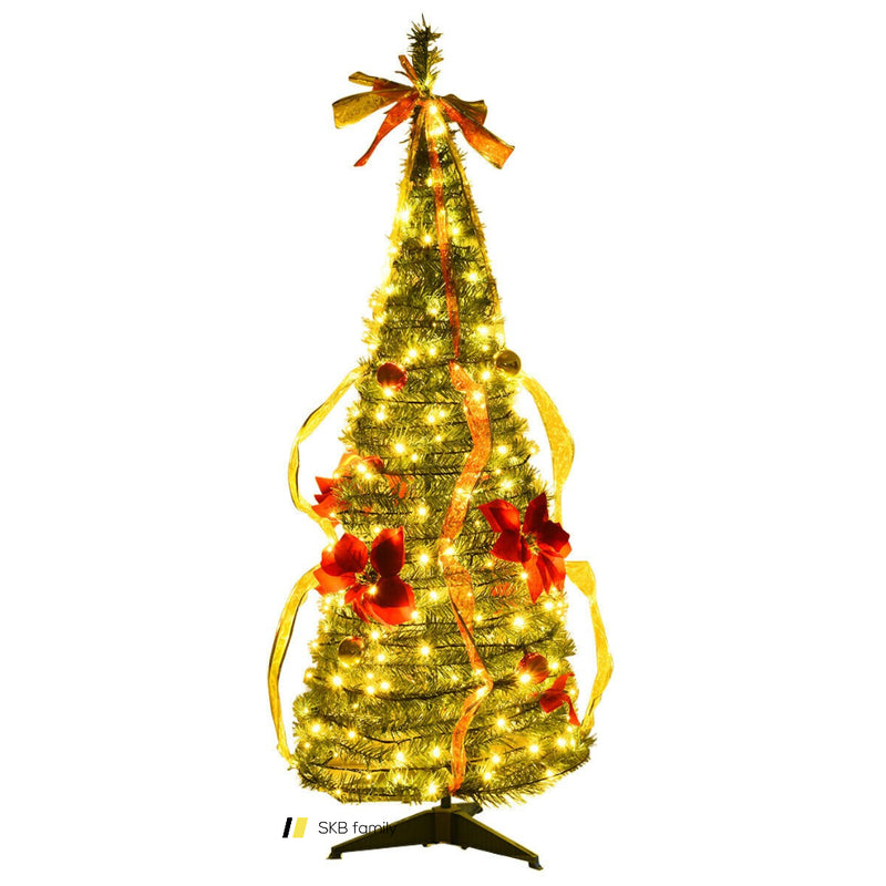 4 Ft Pre-Lit Spruce Christmas Tree With Bows And Ribbon 200815-24804