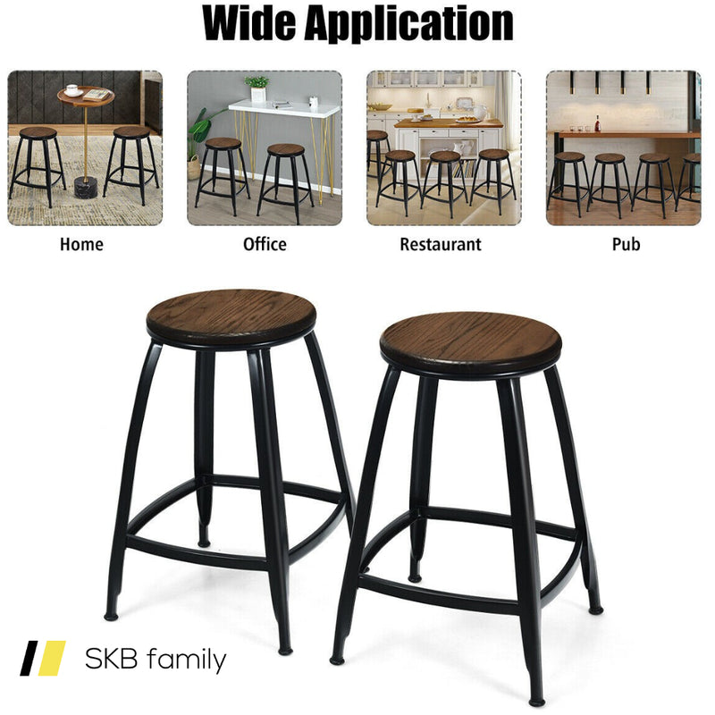 "24"" Set Of 2 Industrial Metal Frame Bar Stools 200815-24806"