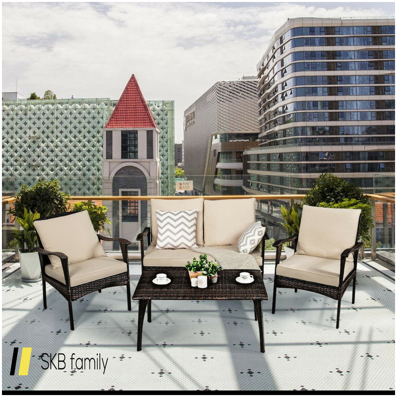 4pcs Patio Rattan Wicker Furniture Set Cushioned Sofa Couch 200815-24812