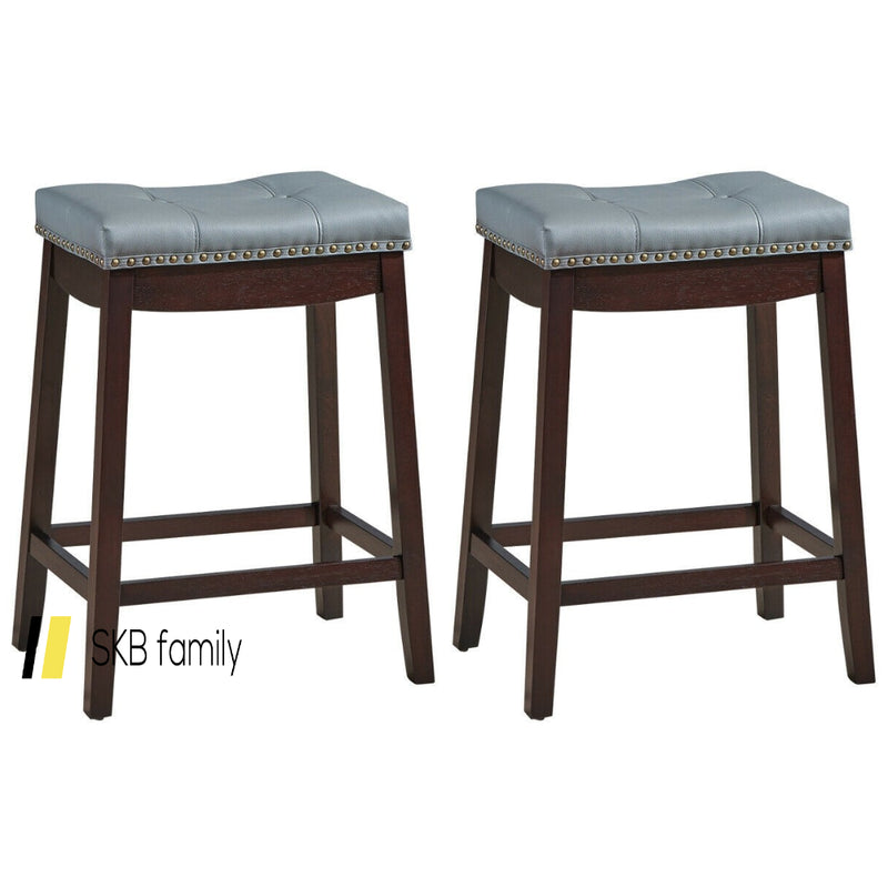 Set Of 2 Nailhead Saddle Bar Stools 200815-24838