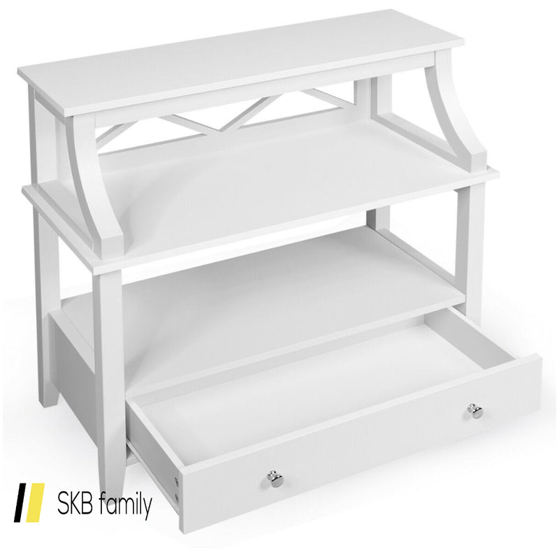 3-Tier Storage Rack End Table Side Table With Slide Drawer 200815-24842