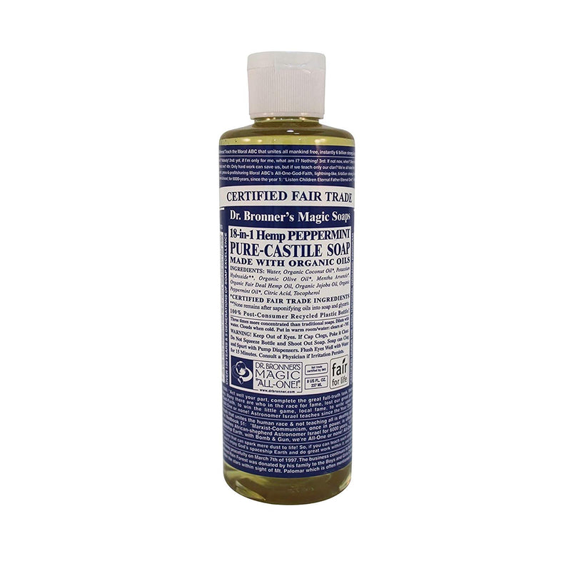 Dr Bronner's Organic Peppermint Pure Castile Liquid Soap 8 Oz (237 ml)