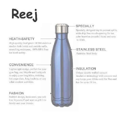 Reej Stainless Steel Insulated Thermos WATER Bottle (Hot + Cold Accessory)
