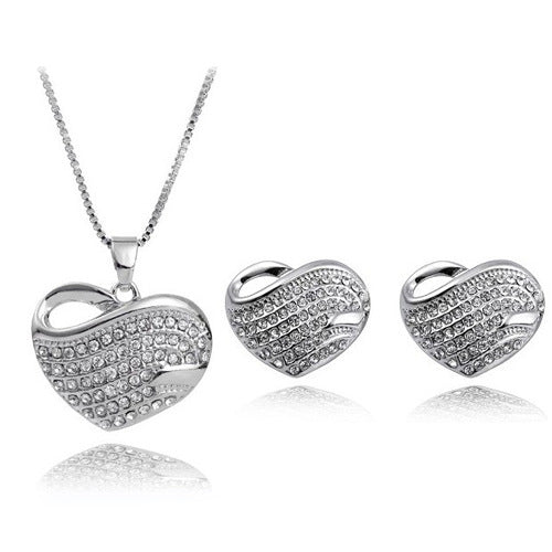 18K White-Gold Plated Valentine Set - Romatco Jewelry