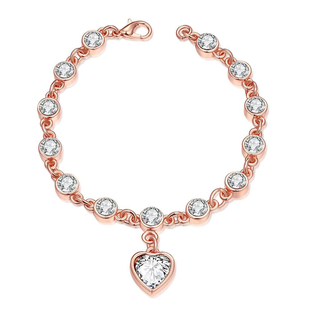 14K Rose-Gold plated Elegant Sweetheart Bracelet - Romatco Jewelry