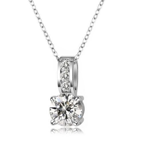 18K White-Gold Plated Drop Necklace-Romatco