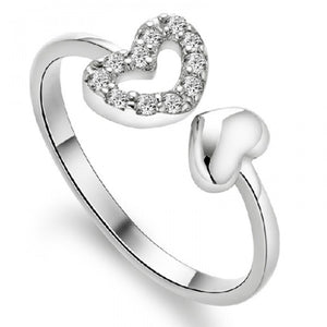 18K White-Gold Plated Twin Hearts Rings-Romatco
