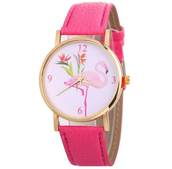 Flamingo Print Watch-Romatco