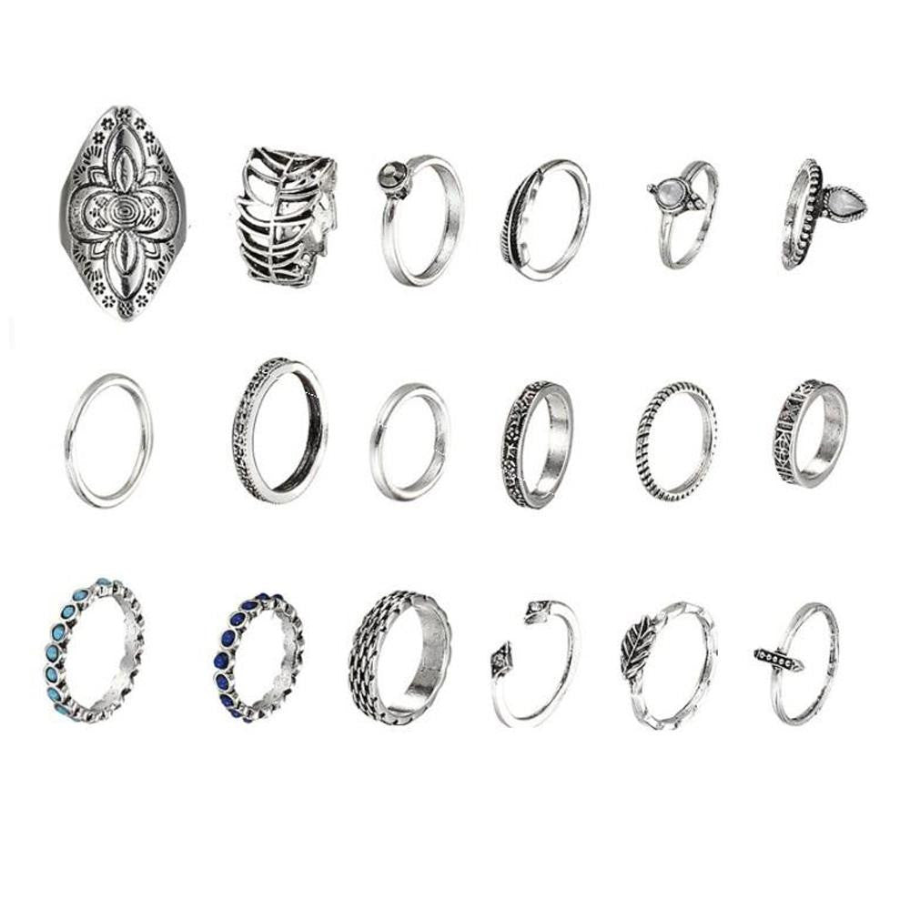 18 Bohemian Rings Set - Romatco Jewelry