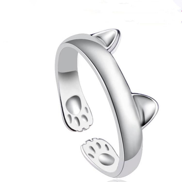 18K White-Gold Plated Feline Rings-Romatco