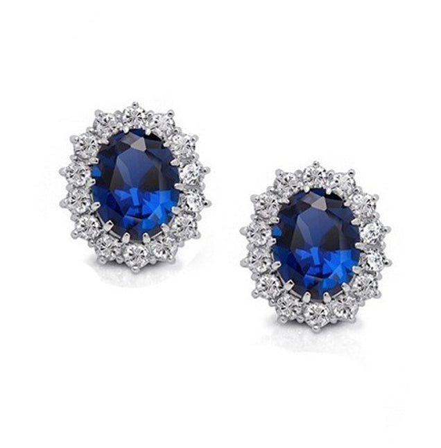 18K White-Gold Plated Imitation Sapphire Earrings-Romatco