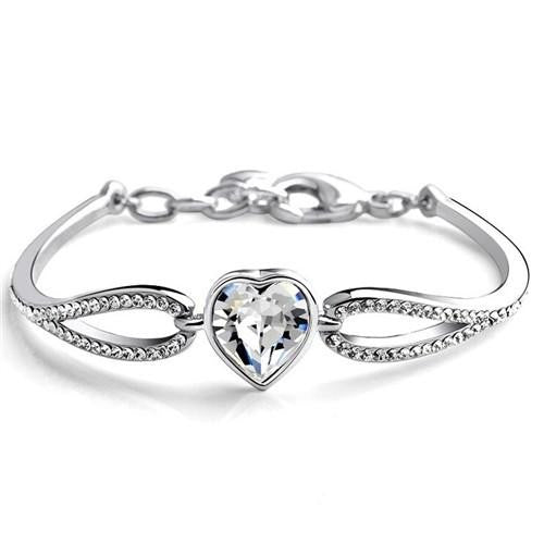 18K White-Gold plated Austrian Heart Bracelet
