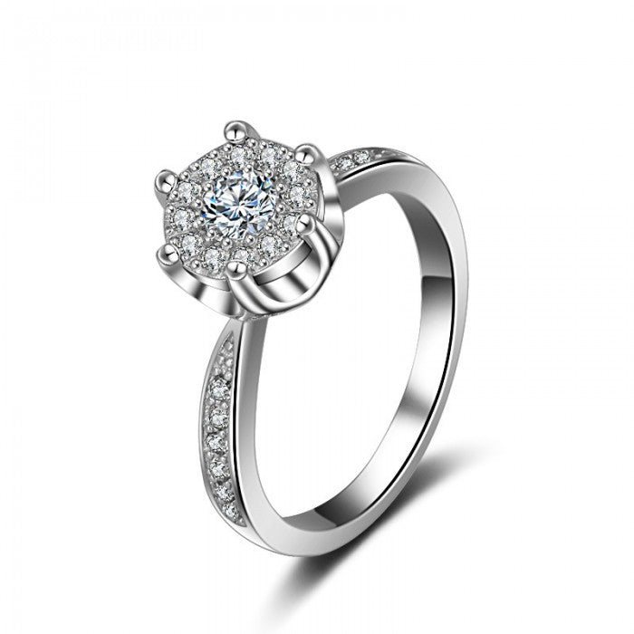 18K White-Gold Plated Stella Engagement Ring - Romatco Jewelry