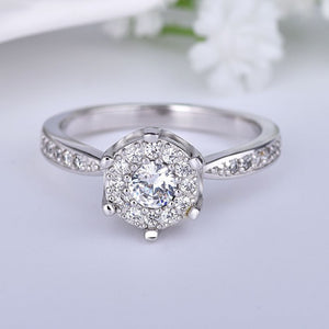 18K White-Gold Plated Stella Engagement Ring-Romatco