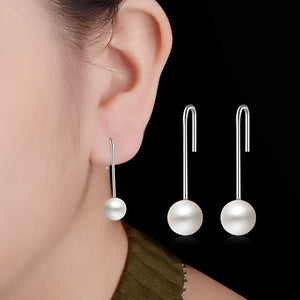 18K White-Gold Plated Pearl Hook Earrings-Romatco