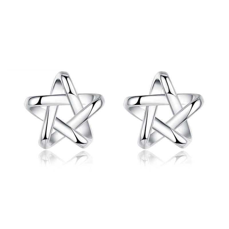 18K White-Gold Plated Lucky Star Earrings-Romatco