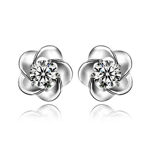 18K White-Gold Plated Flower Stud Earrings - Romatco Jewelry