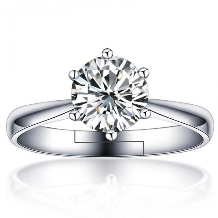 18K White-Gold Plated Cera Solitaire Ring - Romatco Jewelry