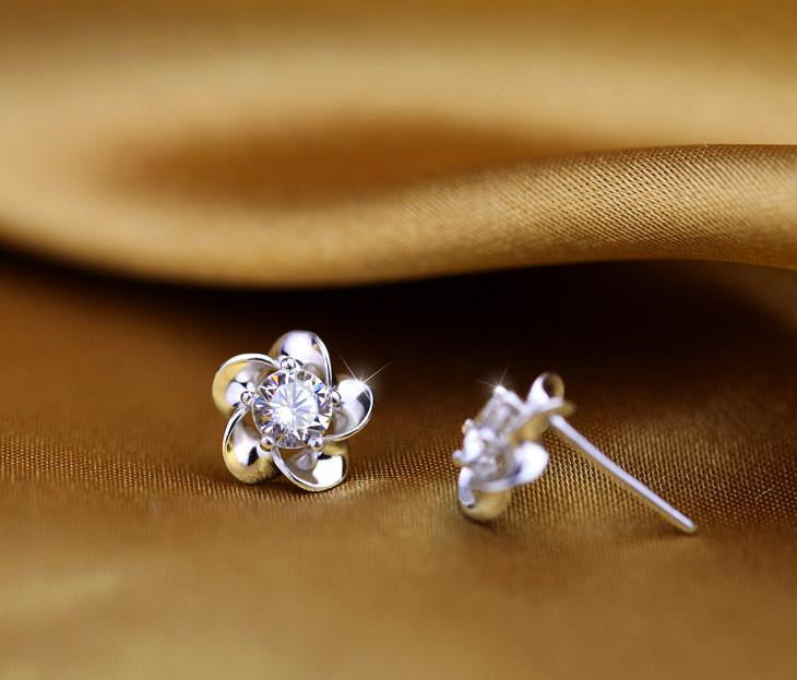 18K White-Gold Plated Flower Stud Earrings-Romatco