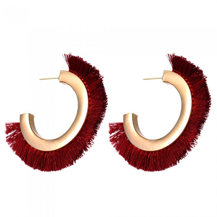 22K Gold Plated Alexa Tassle Earrings-Romatco