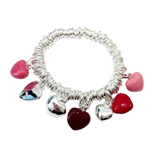 18K White-Gold Plated Multi Heart Charm Bracelet-Romatco