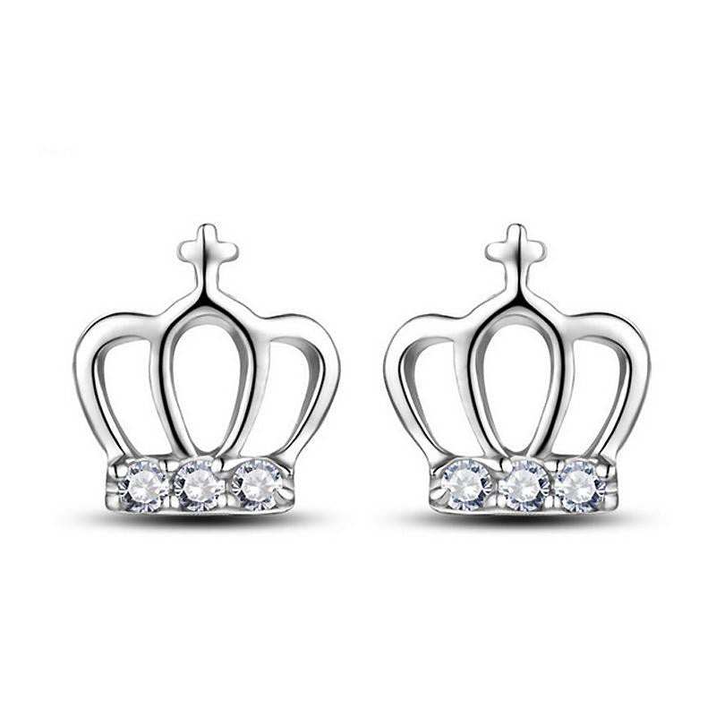 18K White-Gold Plated Crown Stud Earrings-Romatco