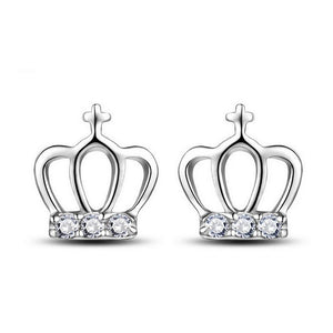 18K White-Gold Plated Crown Stud Earrings