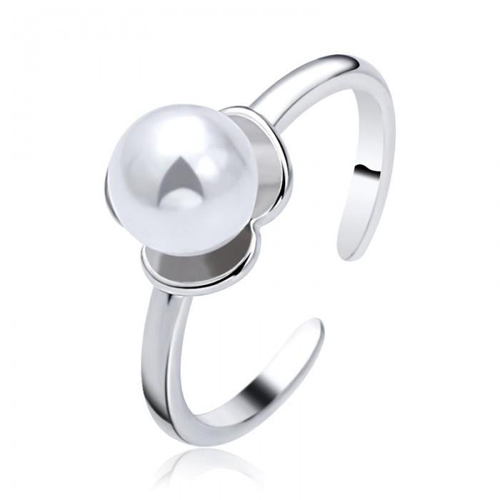 18K White-Gold Plated Flower Pearl Rings-Romatco