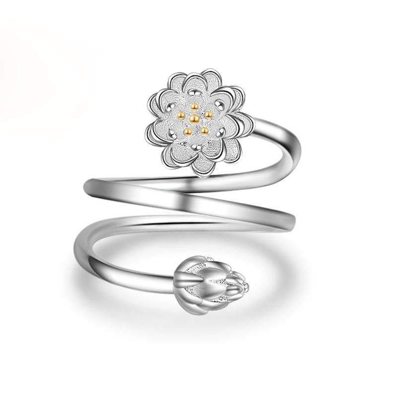 18K White-Gold Plated Floret Double Wrap Rings-Romatco