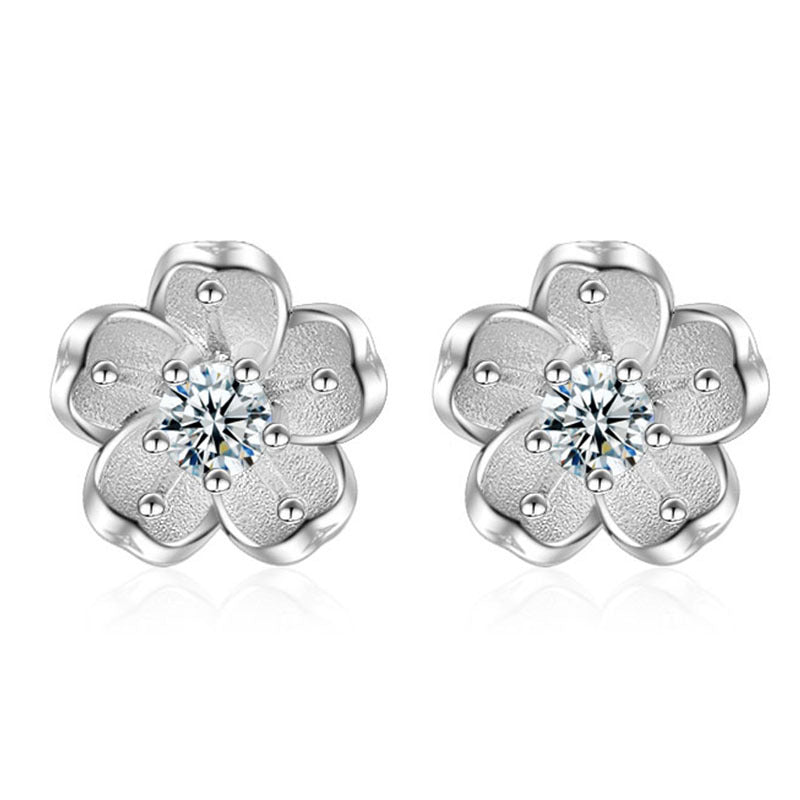 18K White-Gold Plated Sepal Stud Earrings - Romatco Jewelry