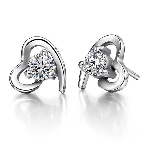 18K White-Gold Plated Mystic Heart Earrings-Romatco