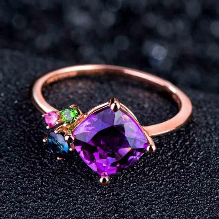 14K Rose-Gold Plated Multi-Colours Rings-Romatco