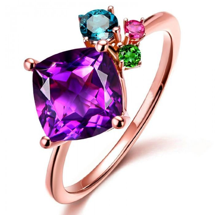 14K Rose-Gold Plated Multi-Colours Rings - Romatco Jewelry