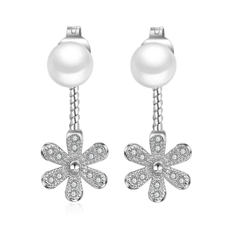 18K White-Gold Plated Flower Jacket-Pearl Earrings - Romatco Jewelry