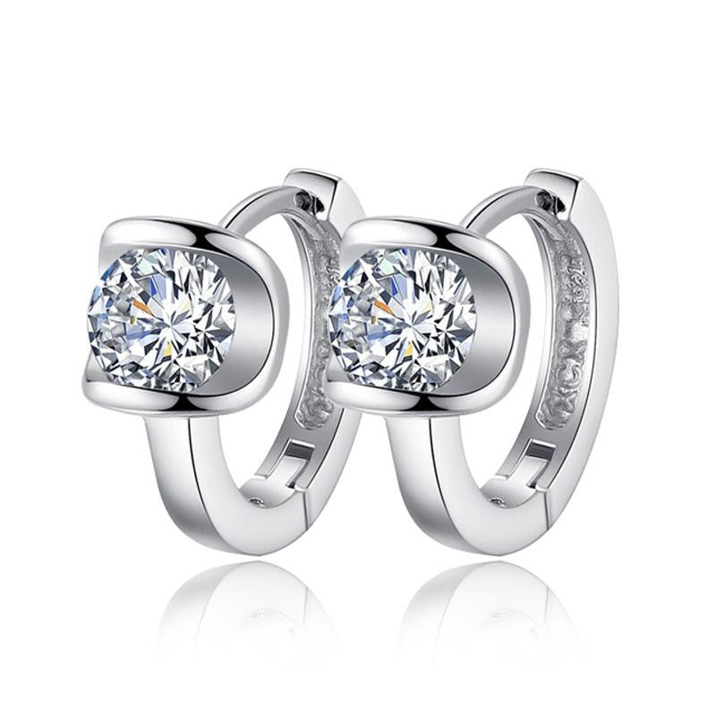 18K White-Gold Plated Diana Earrings-Romatco