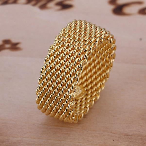 22K Gold plated Woven Mesh Ring-Gold-Romatco