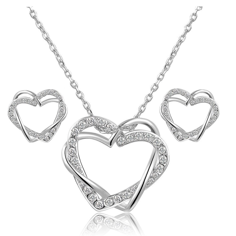 18K White-Gold Plated Twin Heart Set - Silver - Romatco Jewelry