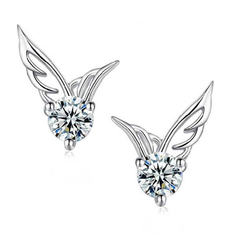 18K White-Gold Plated Angel Wings Stud Earrings - Romatco Jewelry