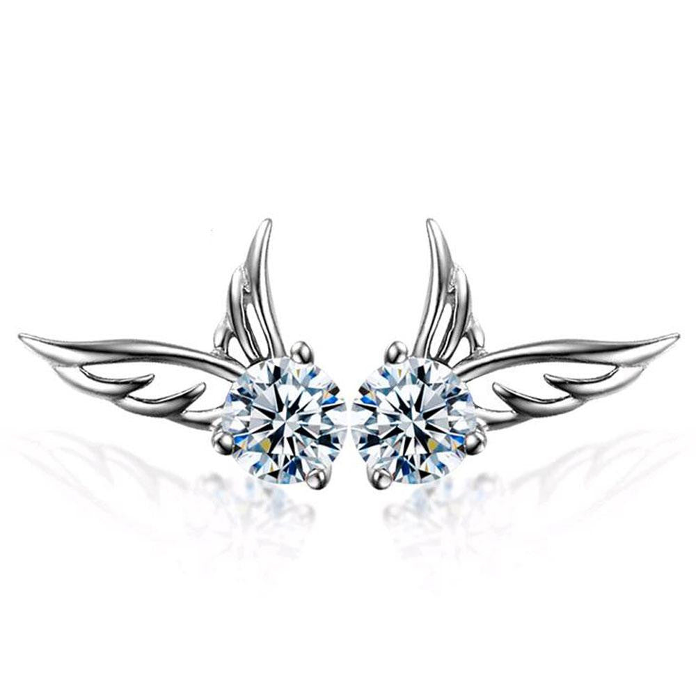 18K White-Gold Plated Angel Wings Stud Earrings-Romatco