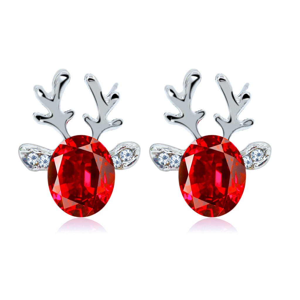 18K White-Gold Plated Reindeer Earrings-Romatco
