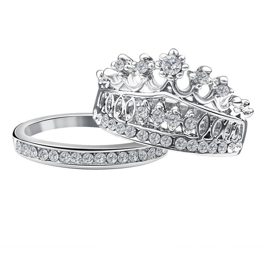 18K White-Gold Plated Crown Rings Set-Romatco