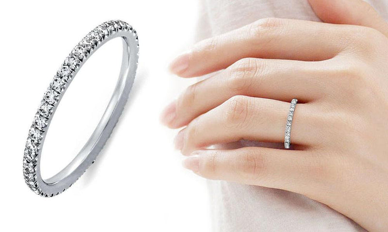 18K White-Gold Plated Eternity Ring-Romatco